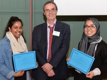 Sriluxmi (on the left) and Raghad (on the right) being congratulated by Martyn Bennett