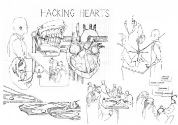 Hacking Hearts illustration by Libby Morrell who followed the workshop with her amazing line drawings