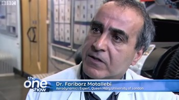 Dr. Fariborz Motallebi on The One Show - filmed in the Engineering Building at QMUL