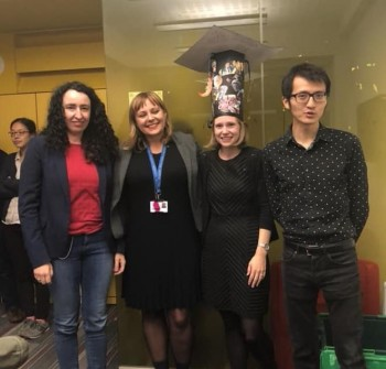 Kathrin with supervisor Prof Magda Titirici and  examiners Prof Conchi Ania (CNRS/University of Orleans) and Dr Ryan Wang (University College London)