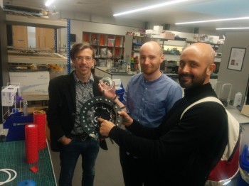 Hugh is photographed with his two examiners, Kaspar (on the left) and Guiseppe (on the right) in teh SEMS lab where he made all his devices.