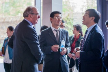 From L to R: Sir Nicholas Montagu, Chairman of the Council of QMUL, with Professor Wen Wang and Professor Cui from University of Oxford (past-President of the Society).