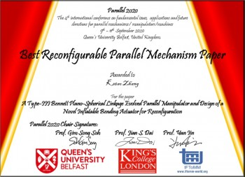 Dr Ketao Zhang Honoured with Best Reconfigurable Parallel Mechanism Paper ...