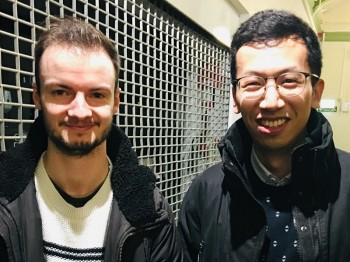 Barnabas Shaw (left) and Leihao Chen (right) celebrating their double PhD viva successes together.