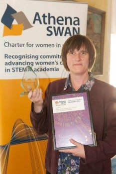 Dr Steffi Krause with the Athena Swan Bronze award