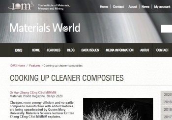 """Cooking up cleaner composites"" reported by Materials World magazine"