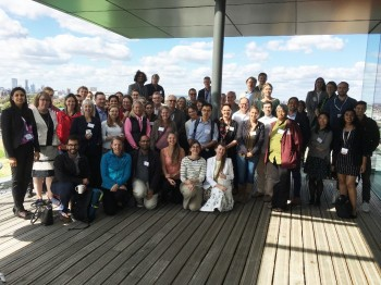 Launch event group photo on Graduate Centre terrace at QMUL