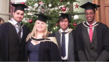 Graduating Aerospace MSc students, from L-R: Chalac Hamza, Laura Caine, Gautham Venugopalan and Oladapo Ogunbodede.