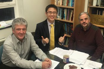 Menglong is pictured wit his two examiners immediately after the viva