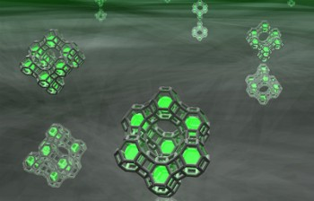Artist impression of small clusters of silver atoms (green spheres) trapped in zeolite cages. Credit: Dr Oliver Fenwick