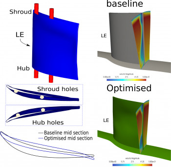 Shape optimisation of a turbine blade with assembly constraints