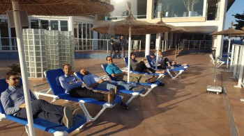 After the victory the QMUL team is seen relaxing in Spain.