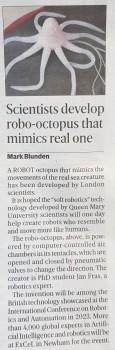 Robot octopus - featuring in Evening Standard article