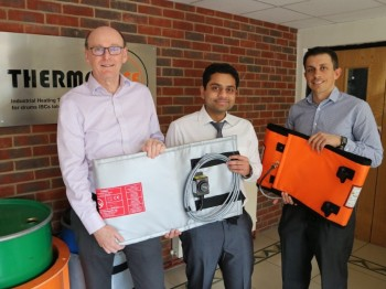 From let to right: Mark Newton (Managing Director, LMK), Dr Harshit Porwal & Jamie Evans (Development Manager, LMK) holding innovative products developed during the KTP.