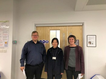 Fan Wu with the external examiner, Prof. Torsten Wagner and Dr Steffi Krause.