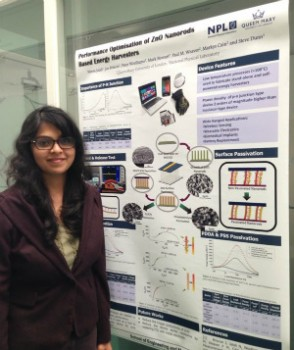 Nimra Jalali with her winning poster entitled Performance Optimisation of ZnO Nanorods-Based Energy Harvesters