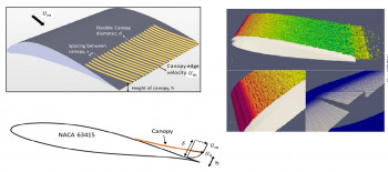 Schematic of flexible rod-canopies placed over an aerofoil surface and preliminary results of Large Eddy Simulations accelerated on Graphics Processing Units for a benchmark aerofoil noise case
