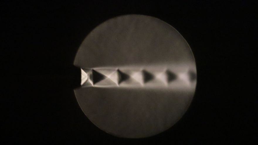 Schlieren image of over-expanded jet (pressure ratio of 3.2) emitting from a convergent-divergent nozzle of design Mach number 2, produced by Dr Punekar a visiting scholar in the group
